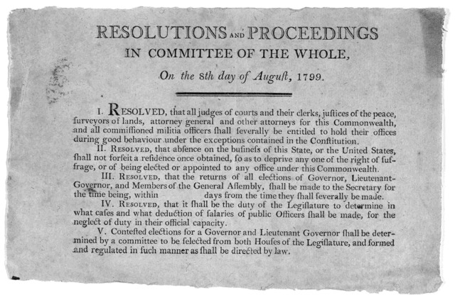 Resolutions and proceedings in committee of the whole, on the 8th day of August, 1799. [5 resolutions for amending the constitution of Kentucky]. [Frankfort? Kentucky1799].