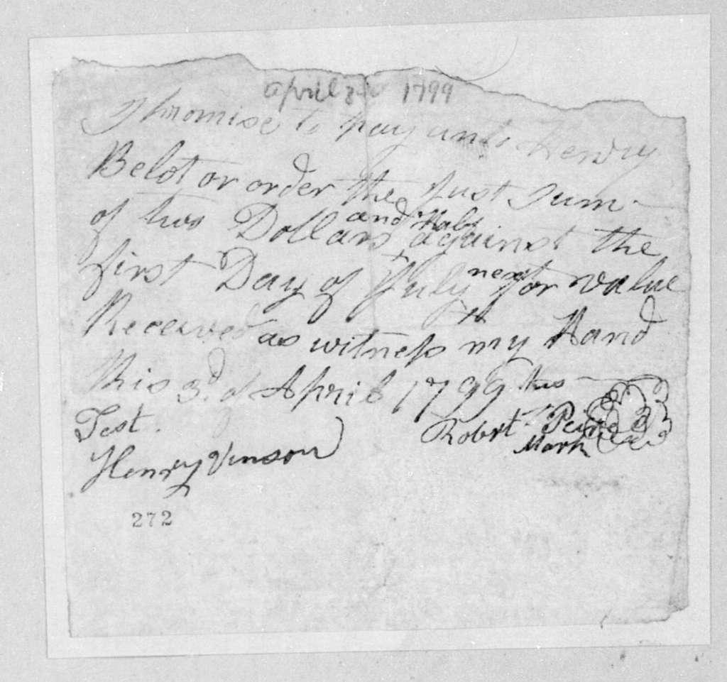 Robert Piere to Henry Belot, April 8, 1799