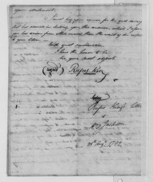 Rufus King to Henry Jackson, August 28, 1799