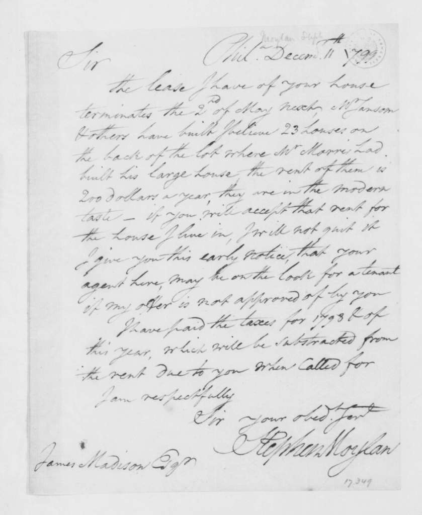 Stephen Moylan to James Madison, December 11, 1799.
