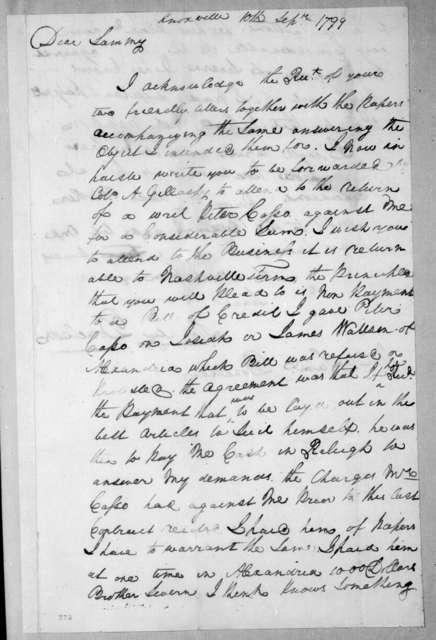 Stockley Donelson to Samuel Donelson, September 10, 1799