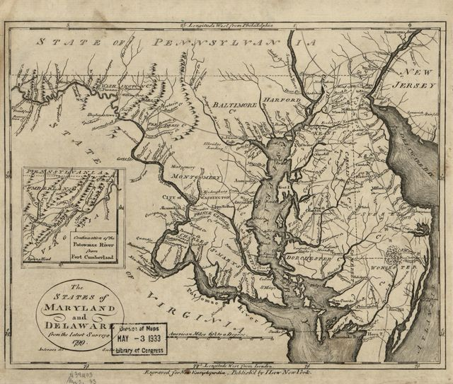 The states of Maryland and Delaware from the latest surveys, 1799.