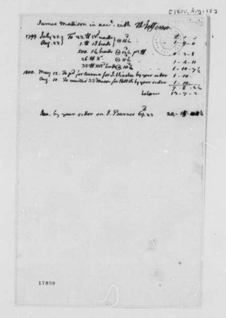 Thomas Jefferson James Madison, July 25, 1799, Account