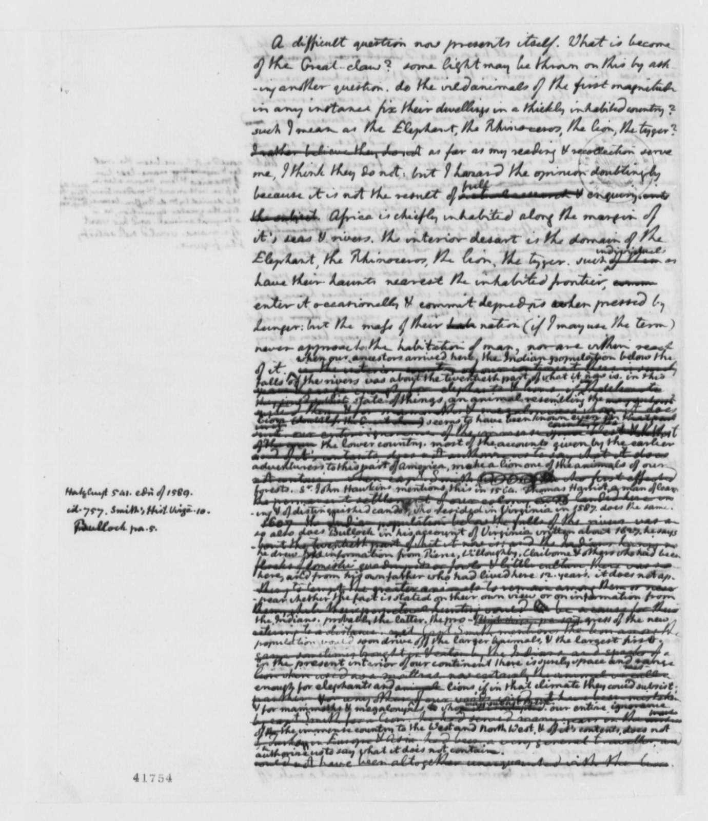 Thomas Jefferson to American Philosophical Society, 1799, Report