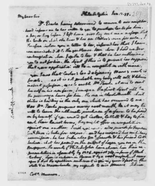Thomas Jefferson to James Monroe, January 3, 1799