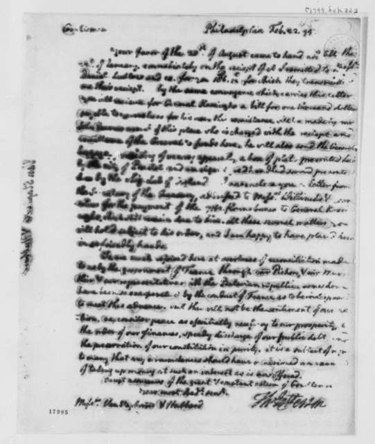 Thomas Jefferson to Staphorst & Van Hubbard, February 22, 1799
