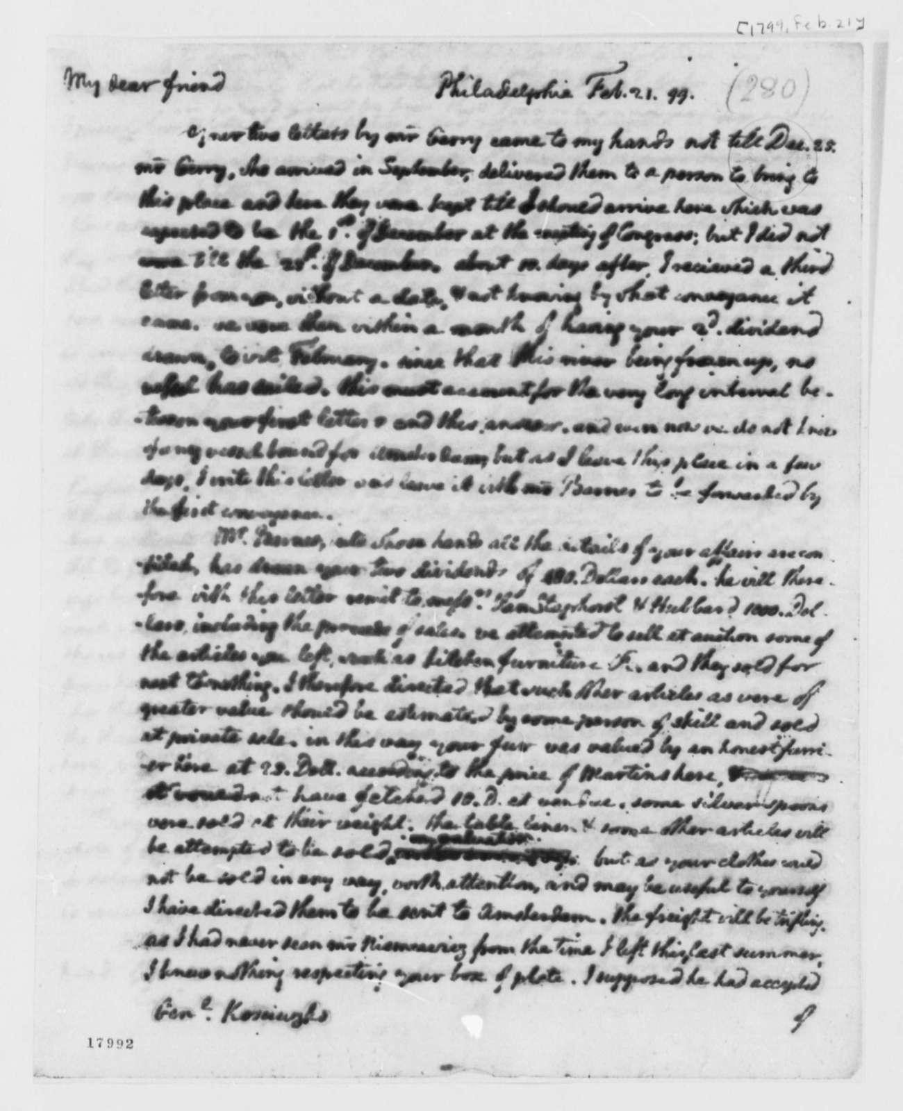 Thomas Jefferson to Thaddeus Kosciuszko, February 21, 1799