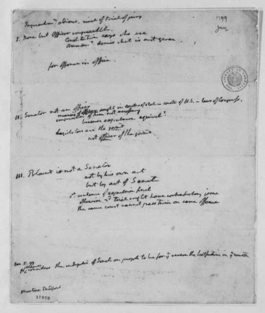 Thomas Jefferson William Blount, January 1799, Impeachment Notes