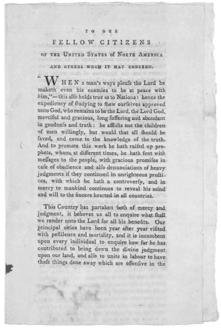 To our fellow citizens of the United States of North America and others whom it may concern. [On the evils of slavery] Signed on behalf and by direction of a meeting representing the religious Society called Quakers in Pennsylvania, New Jersey,