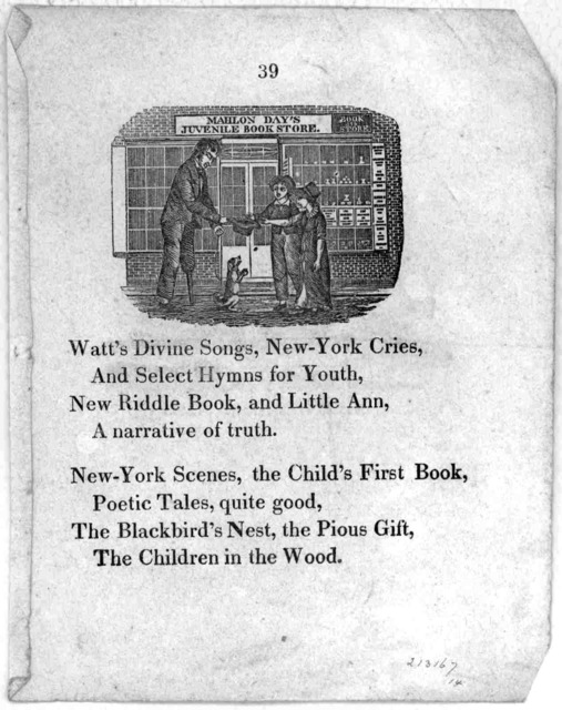 [8 lines of poetry advertising Mahlon Day's juvenile book store.] [18-].