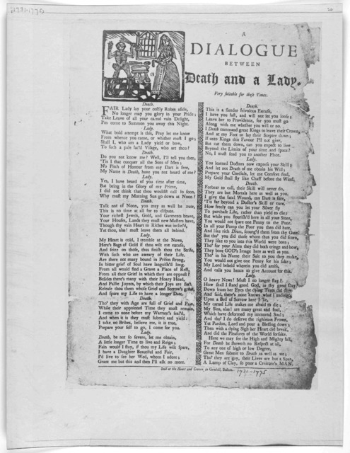 A dialogue between death and a lady very suitable for these times. Boston. Sold at the Heart and Crown in Cornhill, [1800].