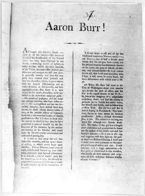 Aaron Burr! At length this Cataline stands confessed in all his villainy - His inveterate hatred of the Constitution of the United States has long been displayed in one steady undeviating course of hostility to every measure which the solid inte