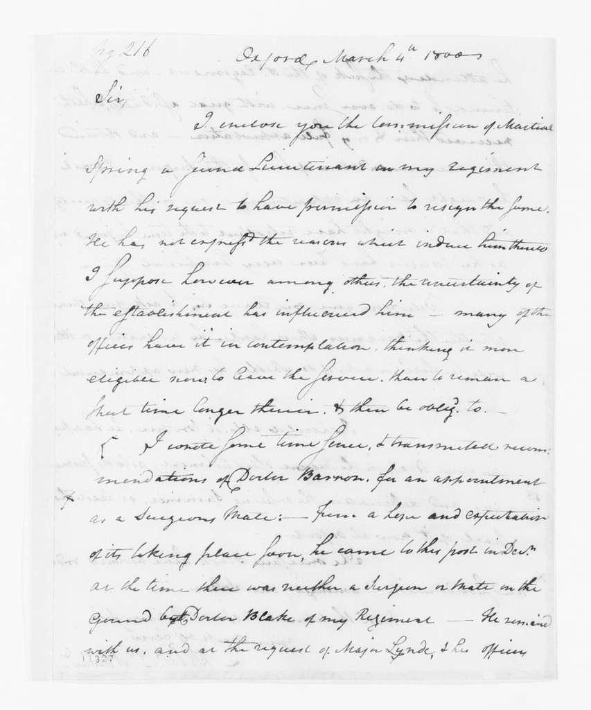 Alexander Hamilton Papers: General Correspondence, 1734-1804; 1800, Mar. 1-6