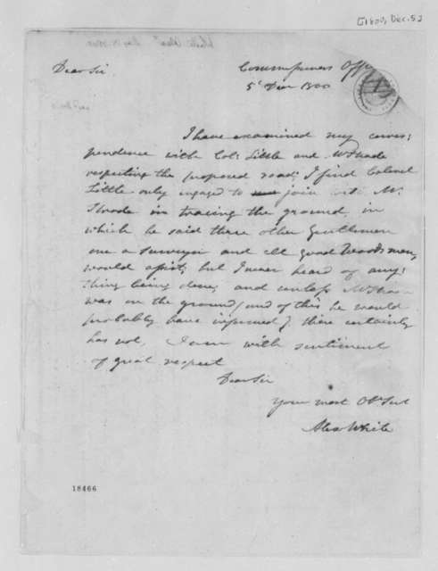 Alexander White to Thomas Jefferson, December 5, 1800