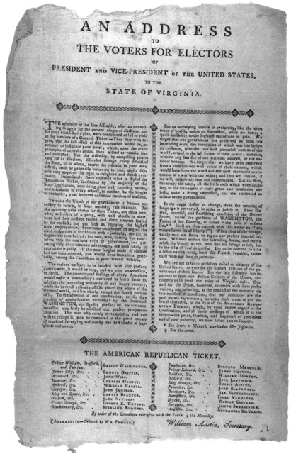 An address to the voters for electors of President and Vice-President of the United States, in the State of Virginia ... Alexandria Printed by Wm. Fowler [180-].