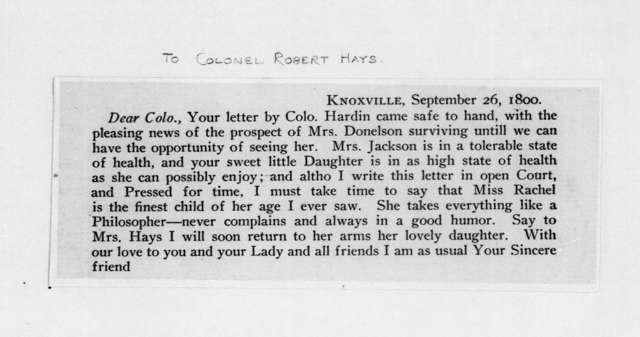 Andrew Jackson to Robert Hays, September 26, 1800