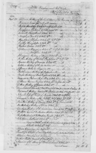 Cadell & Davies - Bingham & Waln Books to Library of Congress, November 25, 1800, List of Books