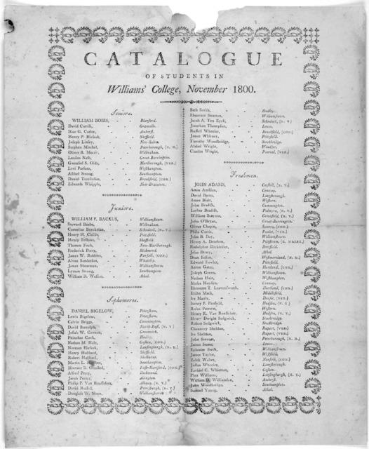 Catalogue of students in Williams' College, November 1800. [Stockbridge, 1800].