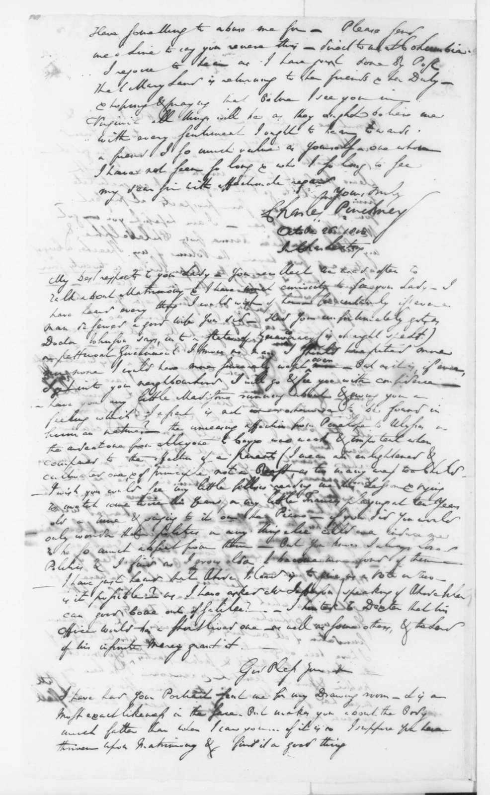 Charles Pinckney to James Madison, October 26, 1800.