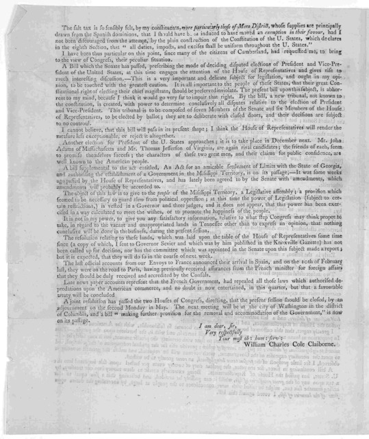 (Circular.) Philadelphia April 21st, 1800 Dear Sir. Since my circular letter of the 23d of January, many subjects of national concern, having either been acted upon by Congress, or are in a train for decision, I now communicate in detail, such o