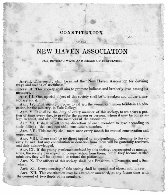 Constitution of the New Haven association for devising ways and means of usefulness. [n. d.].