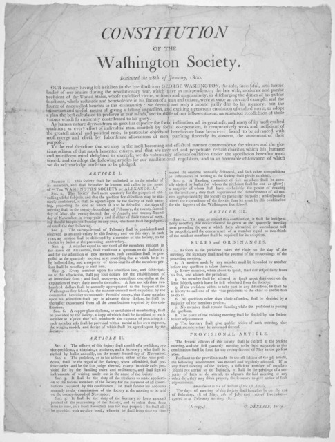 Constitution of the Washington Society. Instituted the 28th of January, 1800 ....