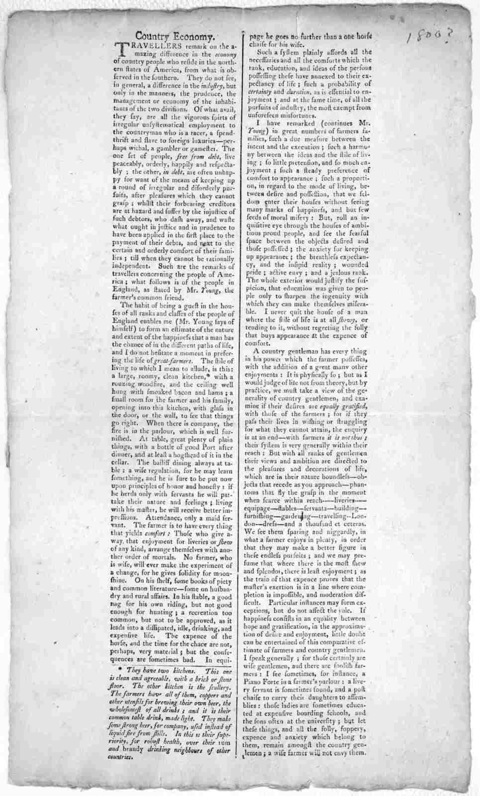 County economy Travellers remark on the amazing difference in economy of country people who reside in the northern states of America, from what is observed in the southern ... [1800?].