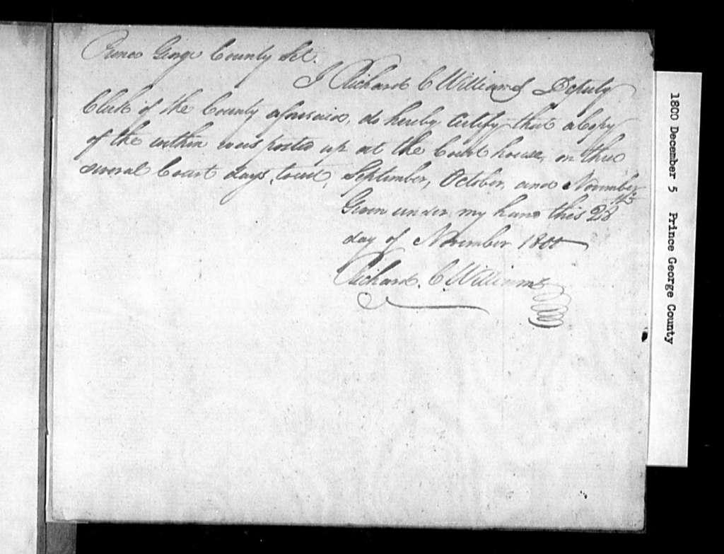 "December 5, 1800, Prince George, Martins Brandon Parish, to vest glebe land in trustees to establish ""seminary of learning""."