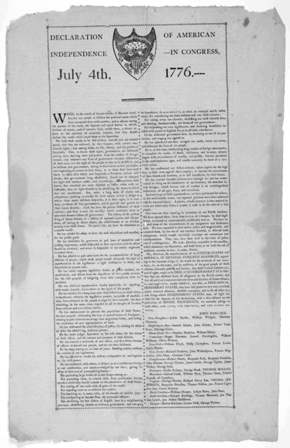 Declaration of American Independence [seal] in Congress, July 4th, 1776. --- text in two columns within ornamental border. [Philadelphia 1800 ?].