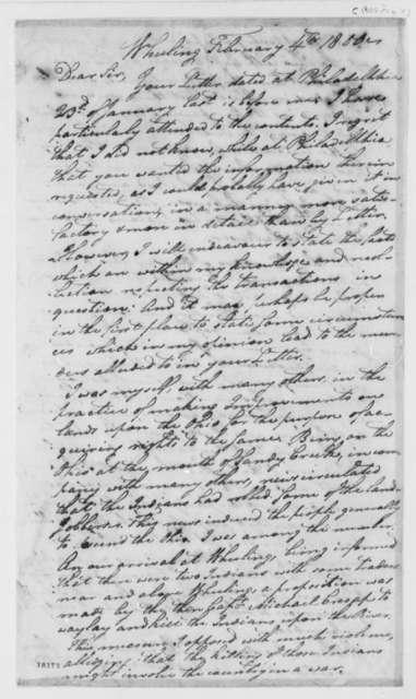 Ebenezer Zane to John Brown, February 4, 1800