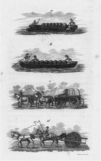 [Four figures showing methods of transporting barrels: a. & b. - by use of small boats; c. - in horse-drawn wagon; d. - rigged behind horses, in a way that it will roll]