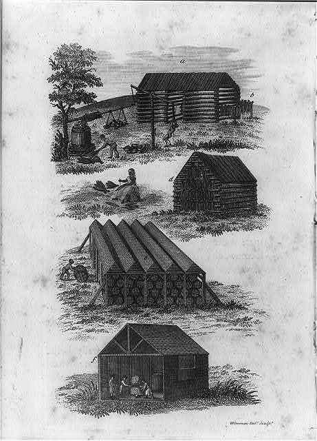 [Four scenes showing curing, airing, and storing of tobacco, Tidewater, Virginia, pre-1800]