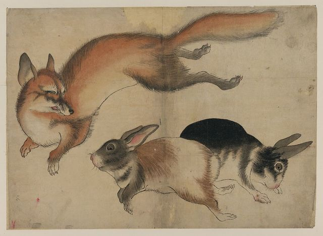 [Fox and two hares]