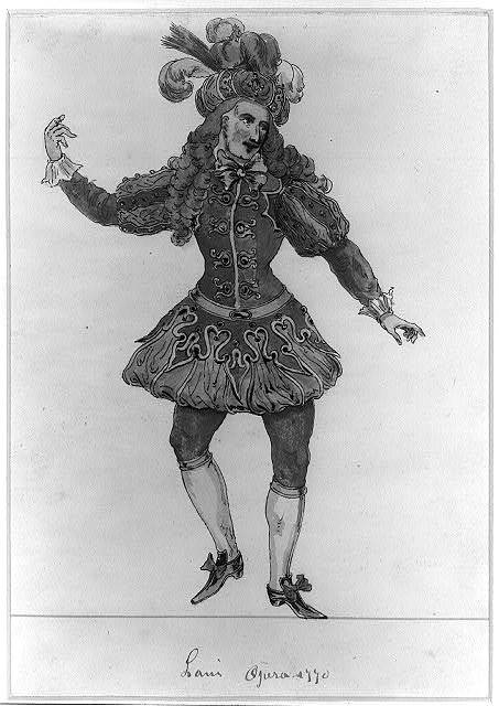 [French actor, full-length portrait, facing slightly right, right hand raised, skipping or dancing, wearing a plumed turban-like headdress]