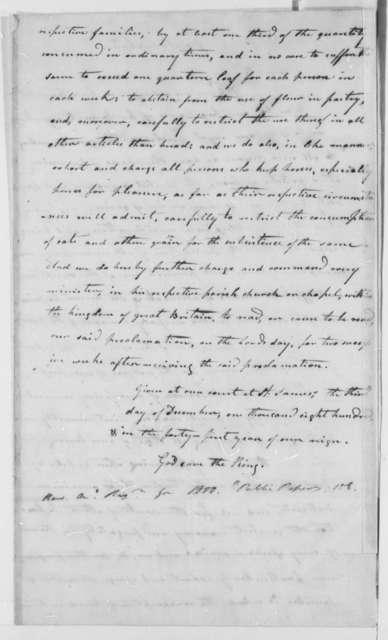 George III of England, December 3, 1800, Proclamation on Grain Economy