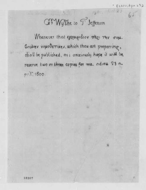 George Wythe to Thomas Jefferson, April 23, 1800