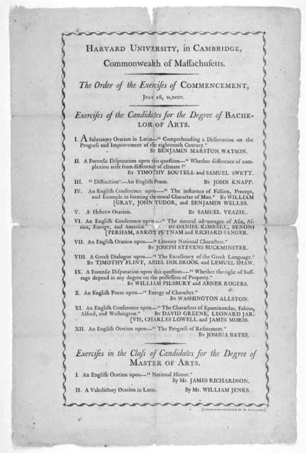 Harvard University, in Cambridge, Commonwealth of Massachusetts. The order of the exercises of commencement, July 16, M,DCCC. [Boston. 1800].