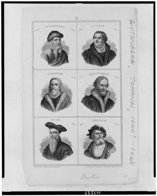 [Head-and-shoulders portraits of Johann Gutenberg, Martin Luther, Peter Schöffer, Melanchton, Johann Fust, and Lucas Cranach] / Stahlstich v. Carl Mayer's Kunst-Anstalt in Nürnberg.