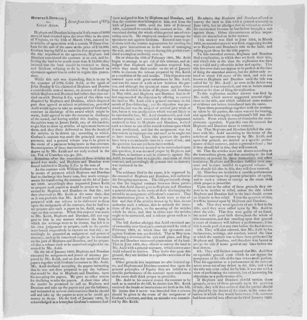 Hepburn & Dundass, vs. Colin Auld. Error from the court of Ch'7. [Washington D. C.? 180-].