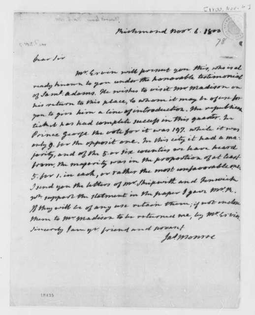 James Monroe to Thomas Jefferson, November 6, 1800