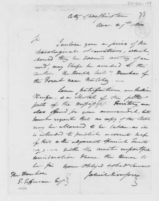 James Wilkinson to Thomas Jefferson, November 29, 1800