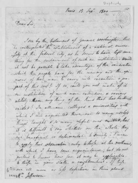 Joel Barlow to Thomas Jefferson, September 15, 1800, with Copy