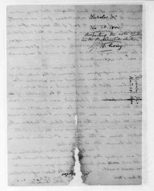 John Nicholas to James Madison, November 28, 1800.