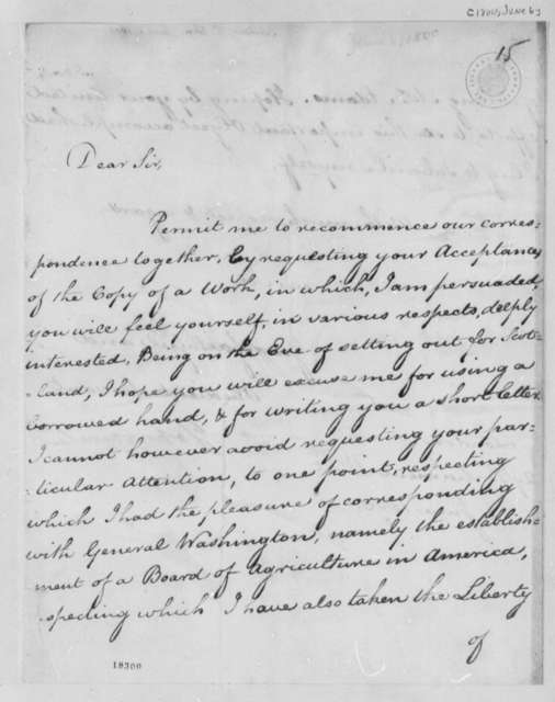 John Sinclair to Thomas Jefferson, June 6, 1800