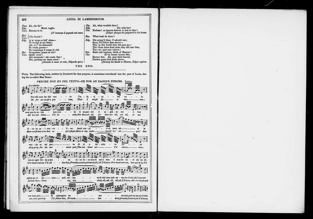 Lucia di Lammermoor. Libretto. English & Italian