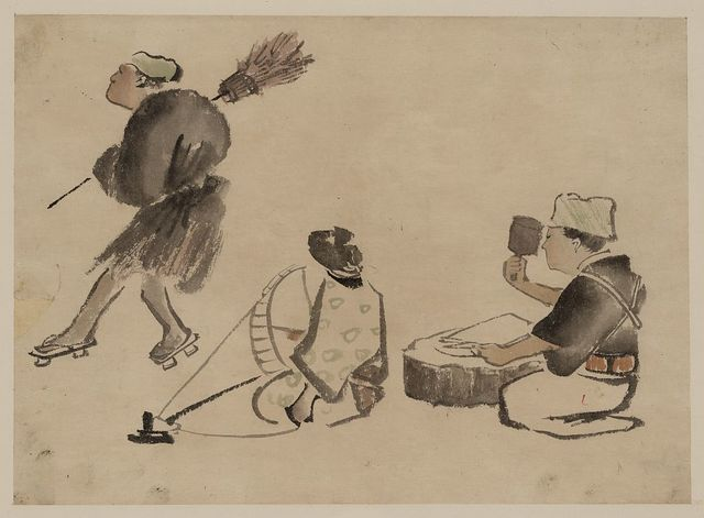 [Man with a broom, wearing geta; woman with spinning wheel; man with a mallet]