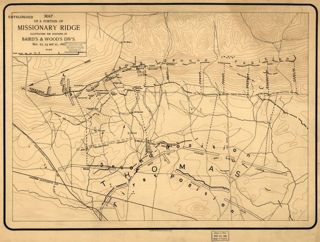 Map of a portion of Missionary Ridge, illustrating the positions of Baird's & Wood's div's., Nov. 23, 24 and 25, 1863.