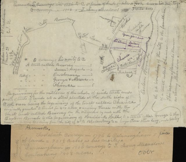 [Map of part of northeastern Washington D.C. near Bladensburg Road showing land tracts and owners' names].