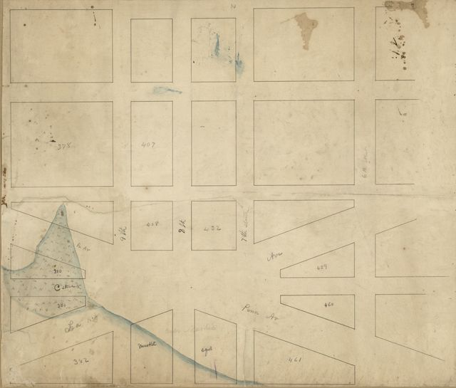 [Map of part of Washington D.C. central business district in the vicinity of the Center Market and Tiber Creek].