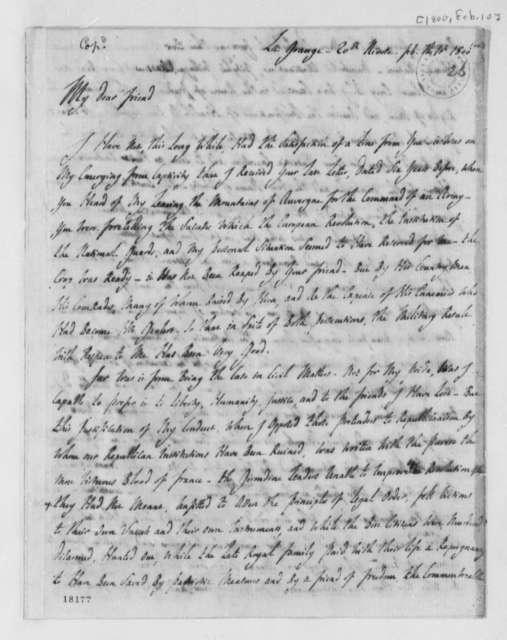 Marie Joseph Paul Yves Roch Gilbert du Motier, Marquis de Lafayette to Thomas Jefferson, February 10, 1800